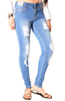 WAKEE BLUE HIGH RISE SKINNY LEG SOFT DENIM BOYFRIEND RIPPED JEANS.