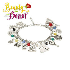 e6f8a688e Disney's Beauty and the Beast (13 Themed Charms) Assorted Metal Charm  Bracelet
