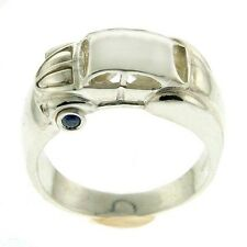 Sterling Silver Sapphire and CZ VolksWagen Beetle Car Designer Ring Size 8.5