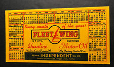 Fleet Wing Fleetwing Gas Oil Advertising Blotter Mini Sign 1937 Service Station