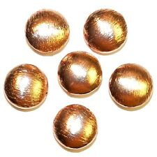 MB3109f Textured Copper-Plated Copper Brushed Flat Puff Round 12mm Beads 6/pk