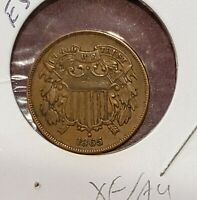 1865 2 Cent Piece 2¢ Strong XF/AU HIGH GRADE!!  E53