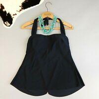 Magicsuit Miraclesuit Size 8 Black Swimsuit Tankini Top Draped Back Halter NWOT