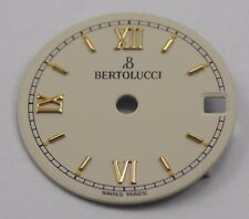 BERTOLUCCI Watch Dial OFF-WHITE 17mm w/ Date Window & Gold Roman Numeral Markers