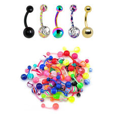 Belly Rings Colorful 14G  Flexi and Surgical Steel Belly Rings Mix 20