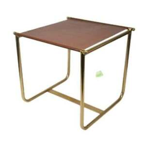 Equestrian Side Table By NATE BERKUS Brass & Faux Brown Leather Top