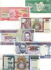 Burundi Africa set of 6 notes 10-1000 Francs Unc 1995-2006