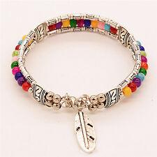 Tibetano pluma de plata brazalete gitana Vintage turquesa Bohemia pulseraSC