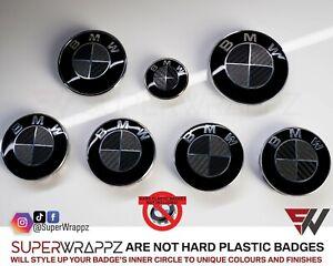 BLACK & DARK GREY CARBON FIBER SuperWrappz Badge Overlay FOR BMW @FITS ALL BMW@