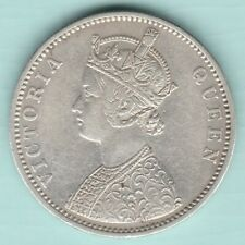 BRITISH INDIA 1875 VICTORIA QUEEN 0/1 DOT VARIETY ONE RUPEE SILVER COIN