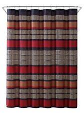 """Burgundy Black Copper Beige Fabric Shower Curtain: Wide Stripe Design, 70"""" x 72"""""""