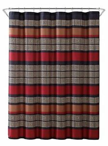 "Burgundy Black Copper Beige Fabric Shower Curtain: Wide Stripe Design, 70"" x 72"""