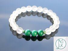 Genuine Malachite/Crystal Natural Gemstone Bracelet 7-8'' Elasticated Healing