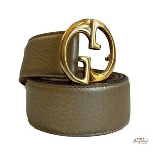 Authentic GUCCI Gold Leather 1973 Interlocking G Buckle Belt US Size 34 245884