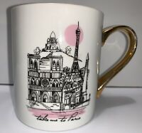 Ciroa With Love Paris Coffee Mug Tea Cup Porcelain Gold Accents Austraila A7-58