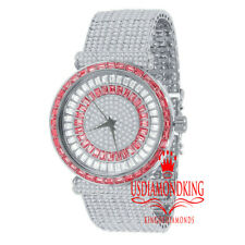 Ruby Red Baguette Simulated Diamond White Tone 10 Row Custom Band Mens Watch