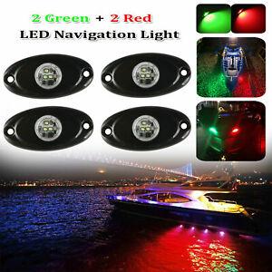 2 Red+2 Green Marine Boat Bow LED Navigation Lights Deck Transom Starboard Stern