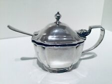 More details for nice solid sterling silver mustard pot & spoon, london 1933