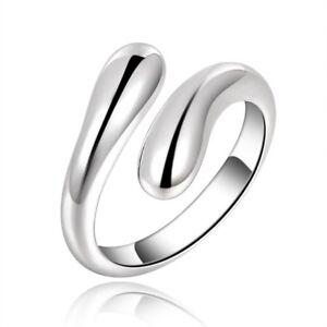Silver tear Drop Ring Adjustable Water Women Jewellery thumb teardrop wrap open
