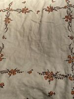 "Vintage Square Linen Floral Embroidery Cross Stitch Tablecloth - 30"" X 30"""