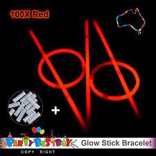 100 Red Glow Sticks Light Bracelets Disco Party Bulk stick glowsticks