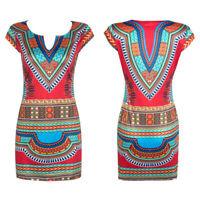 Women Dashiki Dresses Traditional African Dress Clothing V Neck Multi-Color
