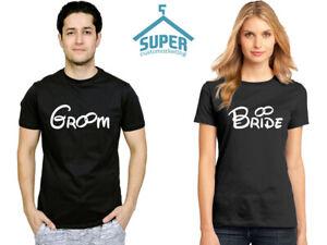 GROOM and BRIDE Couple Tshirt Cartoon WHITE Wedding Honeymoon Matching Shirts