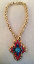 DeLILLO multi color jewels & gold tone huge chain necklace~MINT~SIGNED~T8