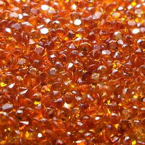 2.1 MM Round Natural Diamond Cut Spessartite Mandarin Orange Garnet 10 Piece Lot