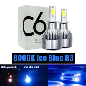 2PC H3 8000K Ice Blue LED Headlight Foglight Bulbs Kit High Low Beam 4000LM 36W