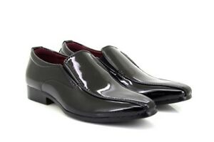 Boys Black Patent Classique '6995' Pointed Toe Smart Formal Slip On Shoes