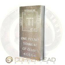 1 lb Pound (16oz) Titanium Bar Element Design .999 Fine CP1 Grade Bullion