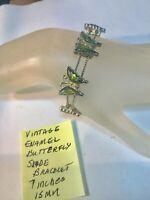 Vintage Enamel Butterfly Slide Bracelet 7 Inches 15mm