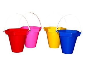 4  Sand Beach Sandbuckets 1 ea Red Pink Yellow Blue Made in USA Lead Free