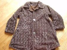 manteau 10-12 ans velours et nounours marron réversible / tout doux et chaud
