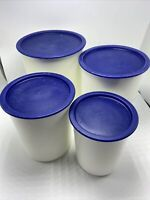 Tupperware OneTouch Canister Set Navy Blue Lids #2422 #2420 #2418 #2416 Set of 4