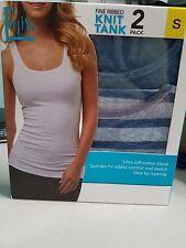 Women's Felina Ribbed Knit Tank Tops 2-pack Blue/Blue Grey Stripe Size Small NIP