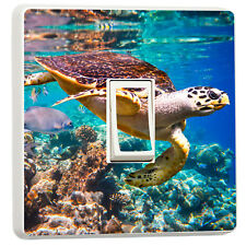 Awesome underwater closeup turtle and fish reef light switch sticker (36148807)