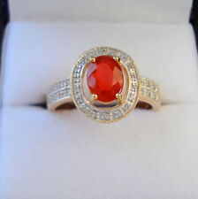 0.85ct Certified Salamanca Red Mexican Fire Opal Gold Ring