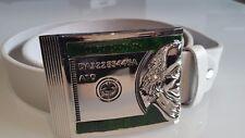 Cinturón de cuero 105 cm desempolvando Weiss Grosse plata hebilla verdes