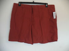Men's Burnt Red Henna Covington Flatfront Shorts. Size 44. 100% Cotton. Belt loo