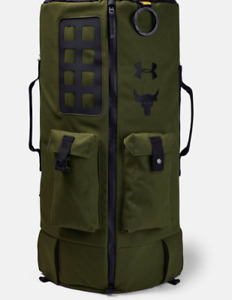 New UA Under Armour Project Rock 90 (larger) Forrest Green Duffel Bag Backpack