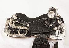 "USED 16"" WESTERN PLEASURE BLACK LEATHER HORSE SHOW SILVER EQUITATION SADDLE"