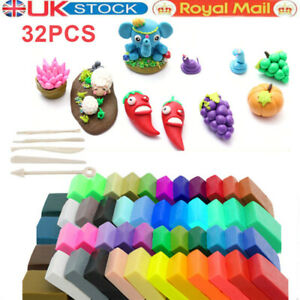 32 Mixed Colour Oven Bake Polymer Clay Modelling Air Drying Clay 5 Tool Kids Toy