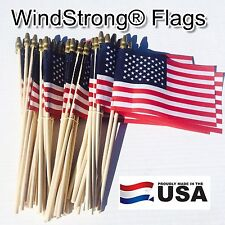 Lot of -50- 4x6 Inch Us American Hand Held Stick Flags Spear Top WindStrong M.