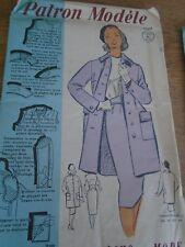 ANCIEN PATRON ECHO DE LA MODE French Pattern 1960 MANTEAU & JUPE COUTURE T 44
