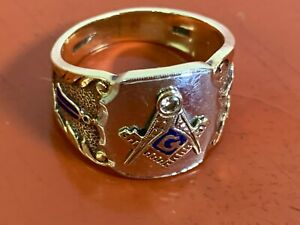 Masonic Ring - 14K Solid Yellow & White Gold - with Diamond Size 9