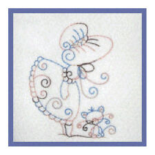 1103:  Machine Embroidery Designs - Sweet Sunbonnets - Redwork