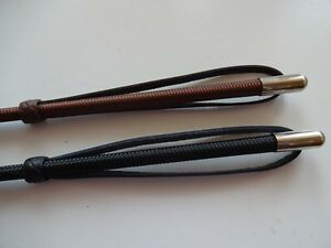 BLACK or BROWN Horse Riding Whip / Crop / Leather Wrist strap & Keeper FREE POST