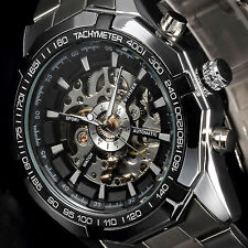 Luxury Men Black Stainless Steel Skeleton Automatic Mechanical Sport Wrist Watch